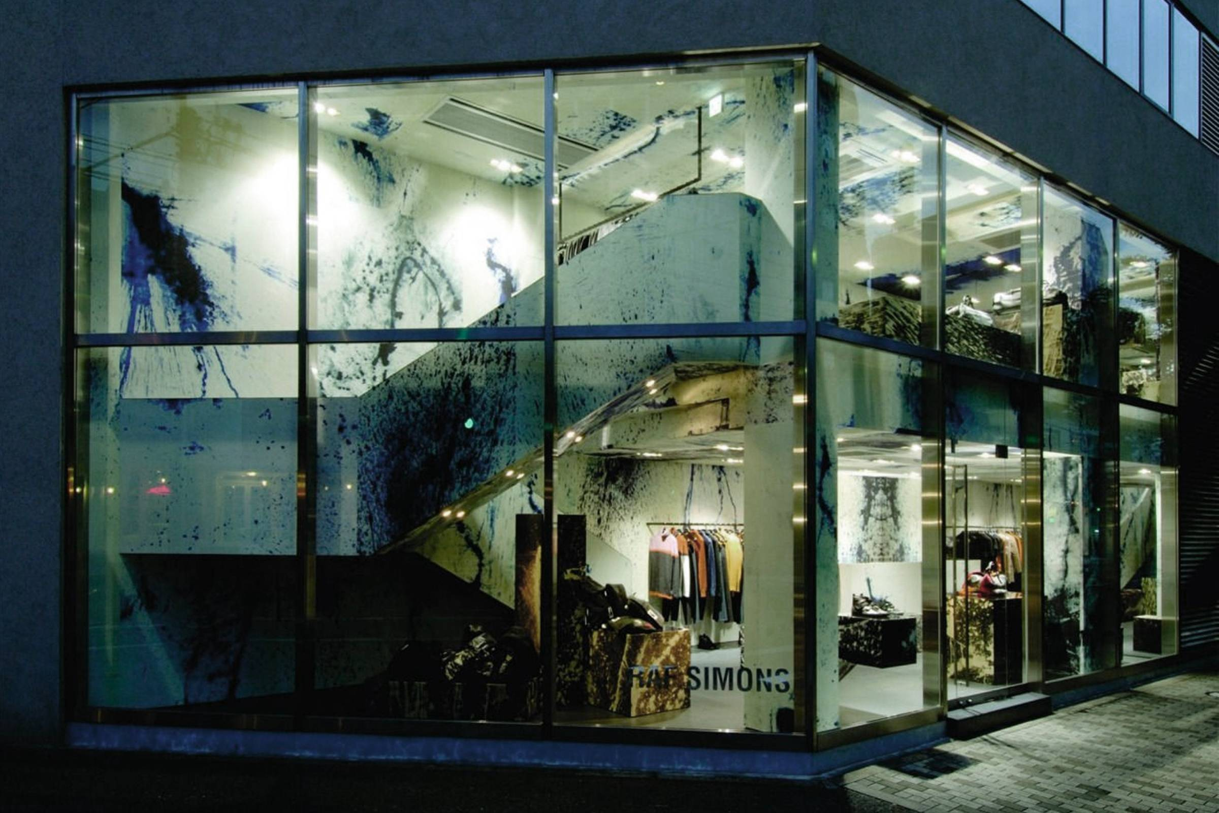 Exterior of Raf Simons' Tokyo store. Both the interior and exterior were designed in collaboration with Sterling Ruby.
