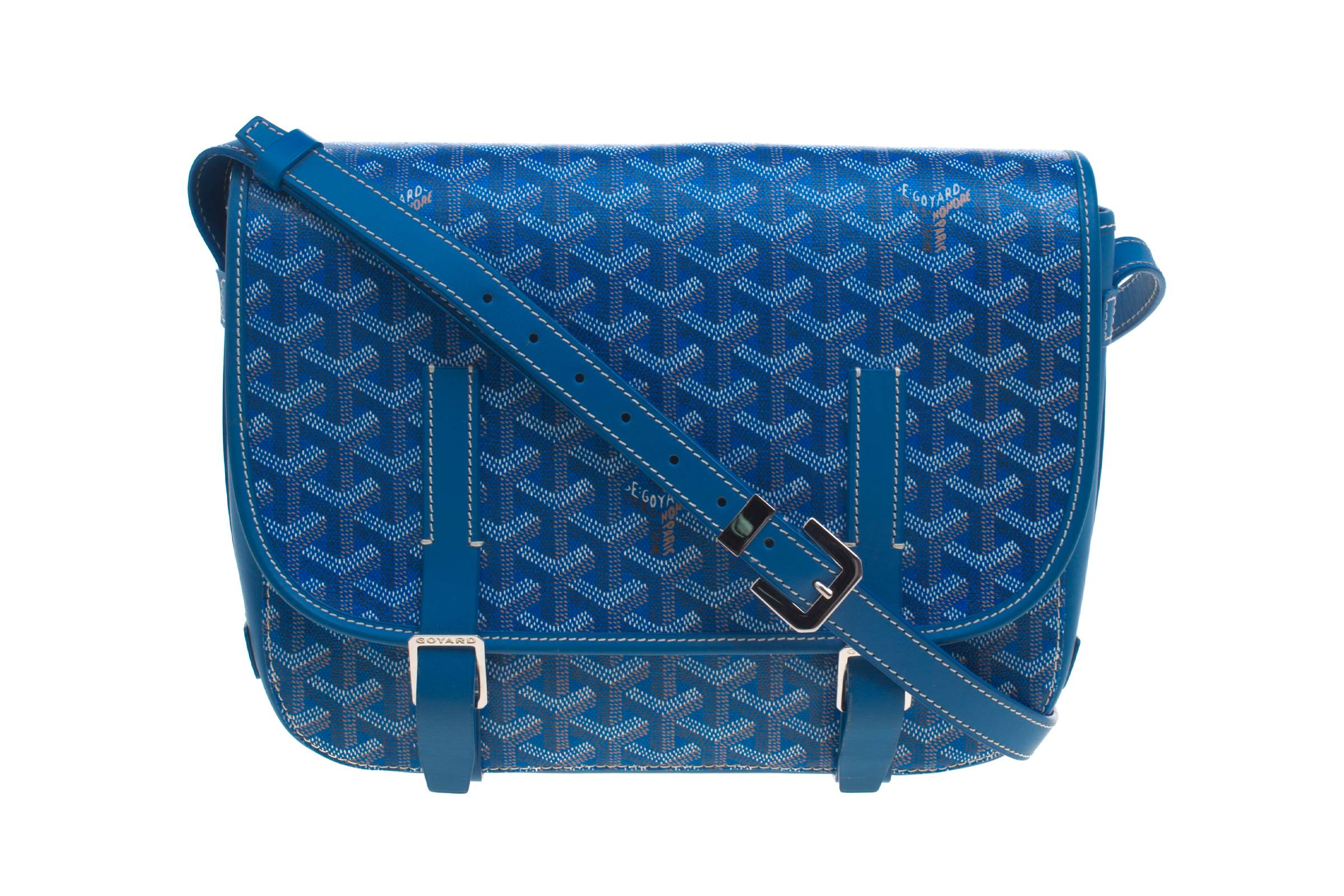 Goyard Blue Chevron Print Coated Canvas Belvedere MM Saddle Bag