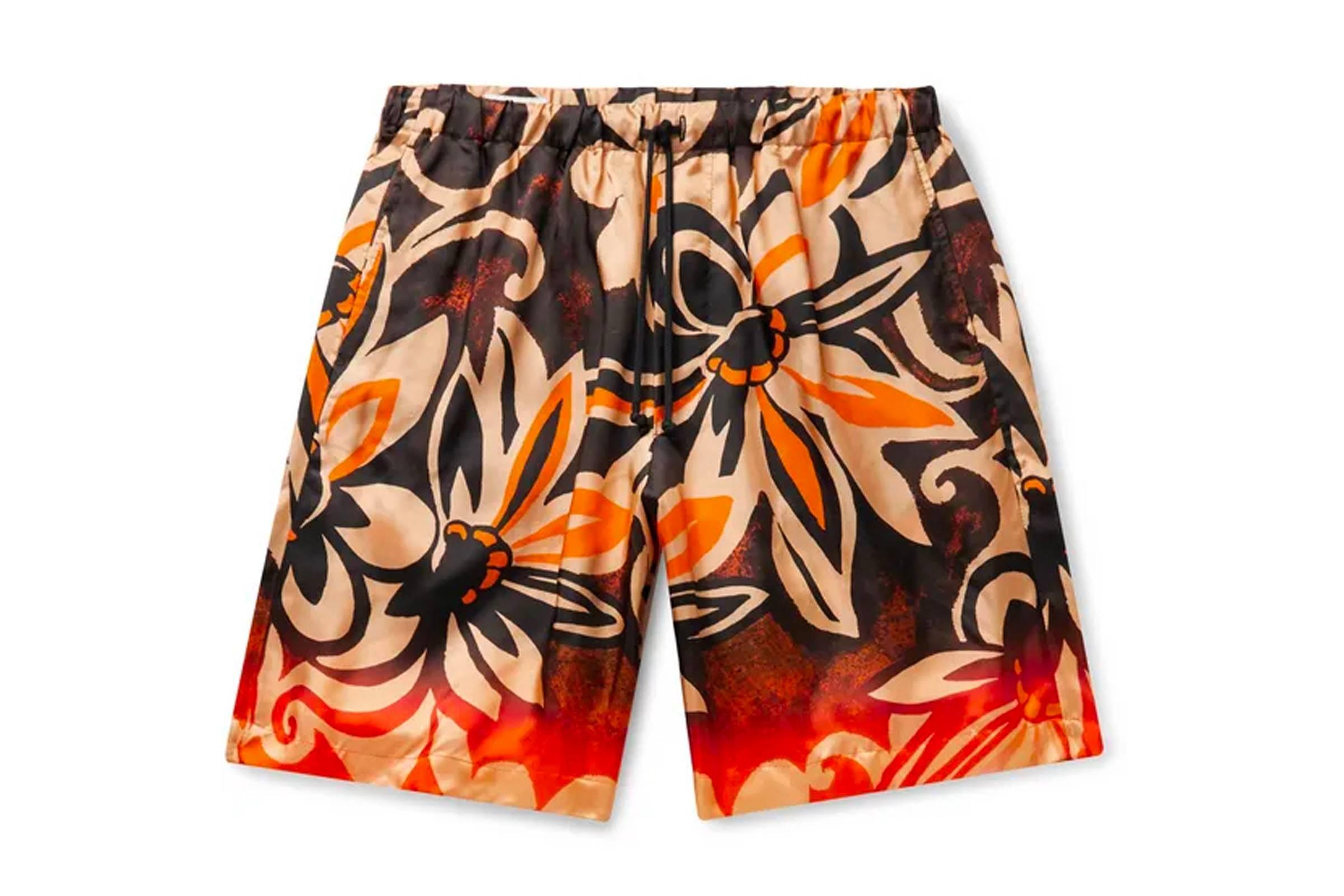 Dries Van Noten Printed Silk Shorts