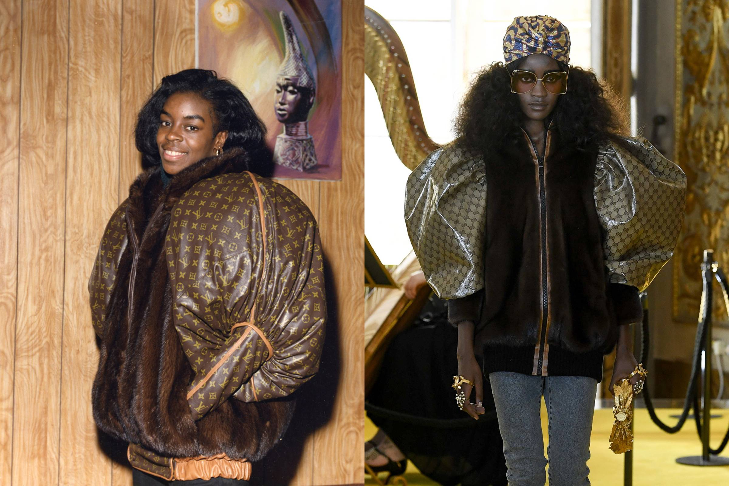 "Diane Dixon (left) in custom Dapper Dan jacket. Gucci's ""homage"" jacket from the Cruise 2018 collection"