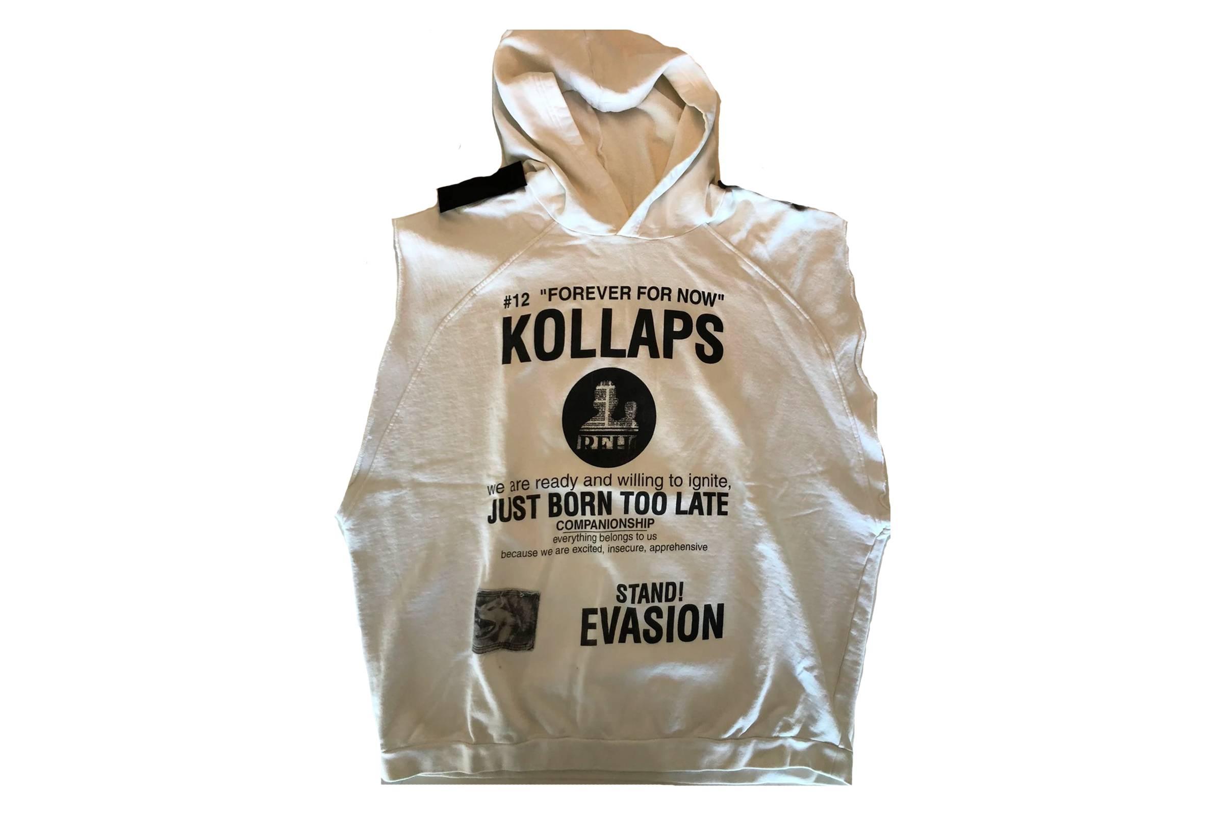 """Raf Simons """"Kollaps"""" Sleeveless Oversized Hooded Sweatshirt"""