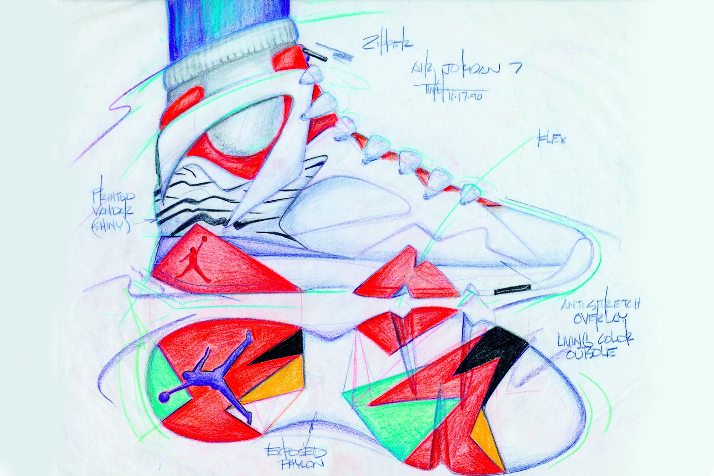 A Jordan VIII concept sketch, 1990.