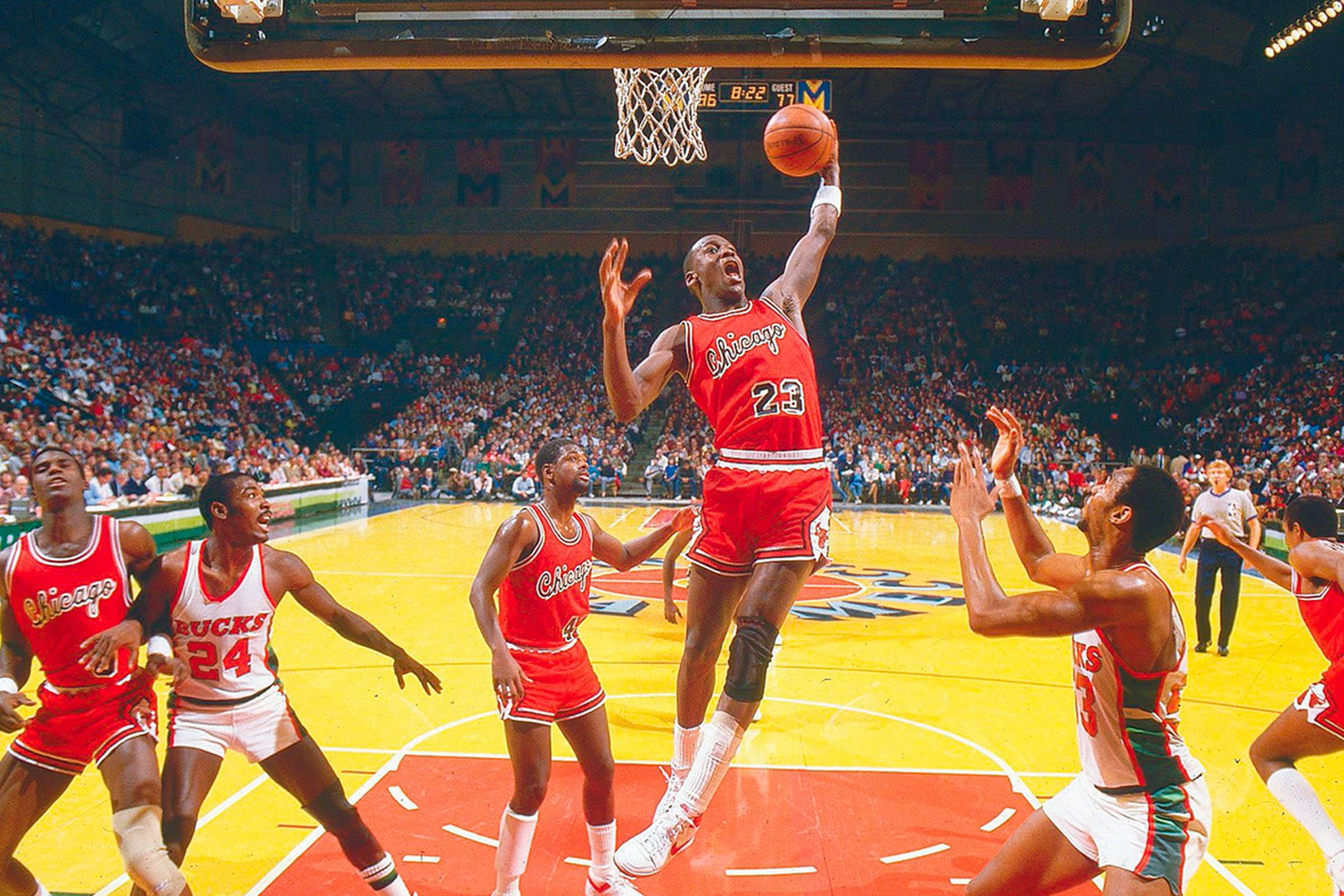 "Michael Jordan playing in the Nike Air Ship in 1984. Image courtesy of [""Sports Illustrated""](https://www.si.com/vault/1984/12/10/638134/in-the-drivers-seat)"
