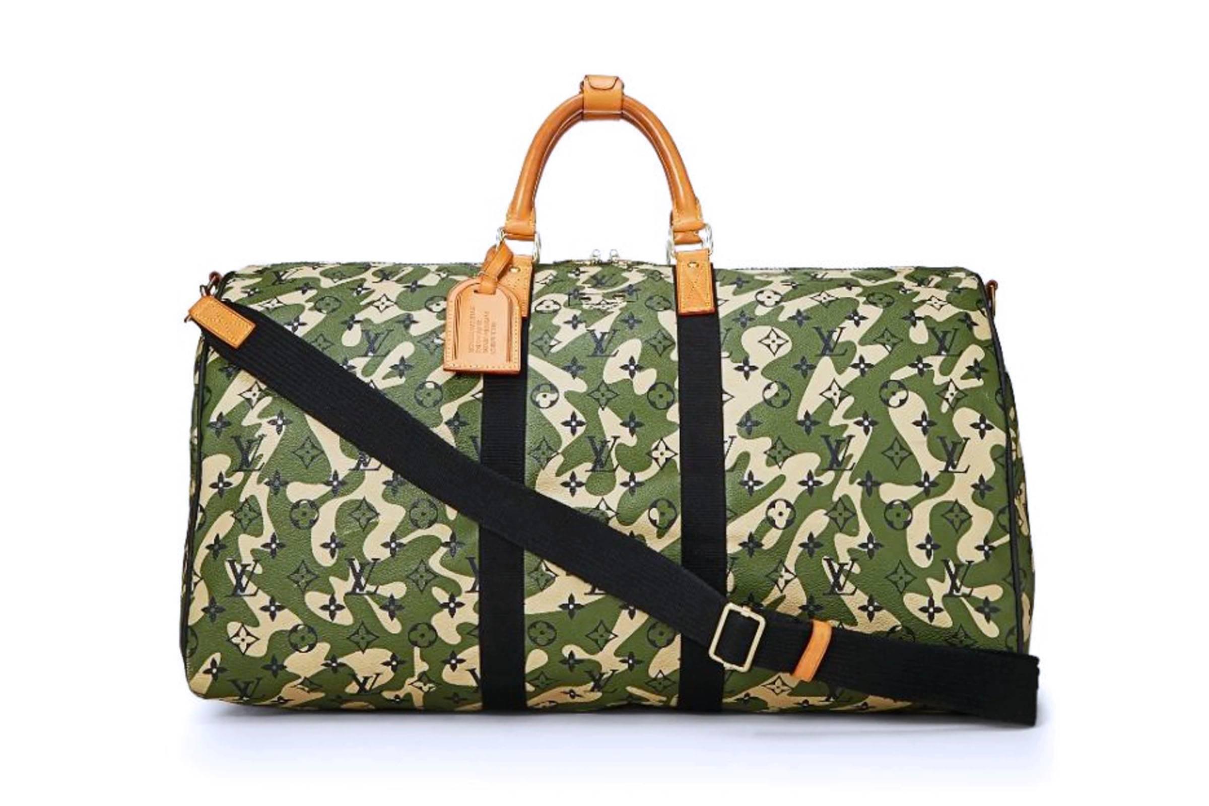 "Takashi Murakami x Louis Vuitton 2008 ""Monogramouflage"" Keepall Bandouliere 55"
