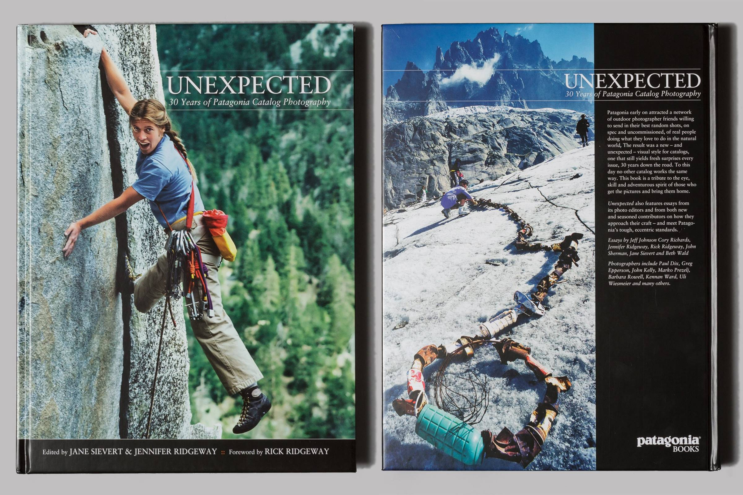 "Front and back cover of ""Unexpected: 30 Years of Patagonia Catalog Photography"""