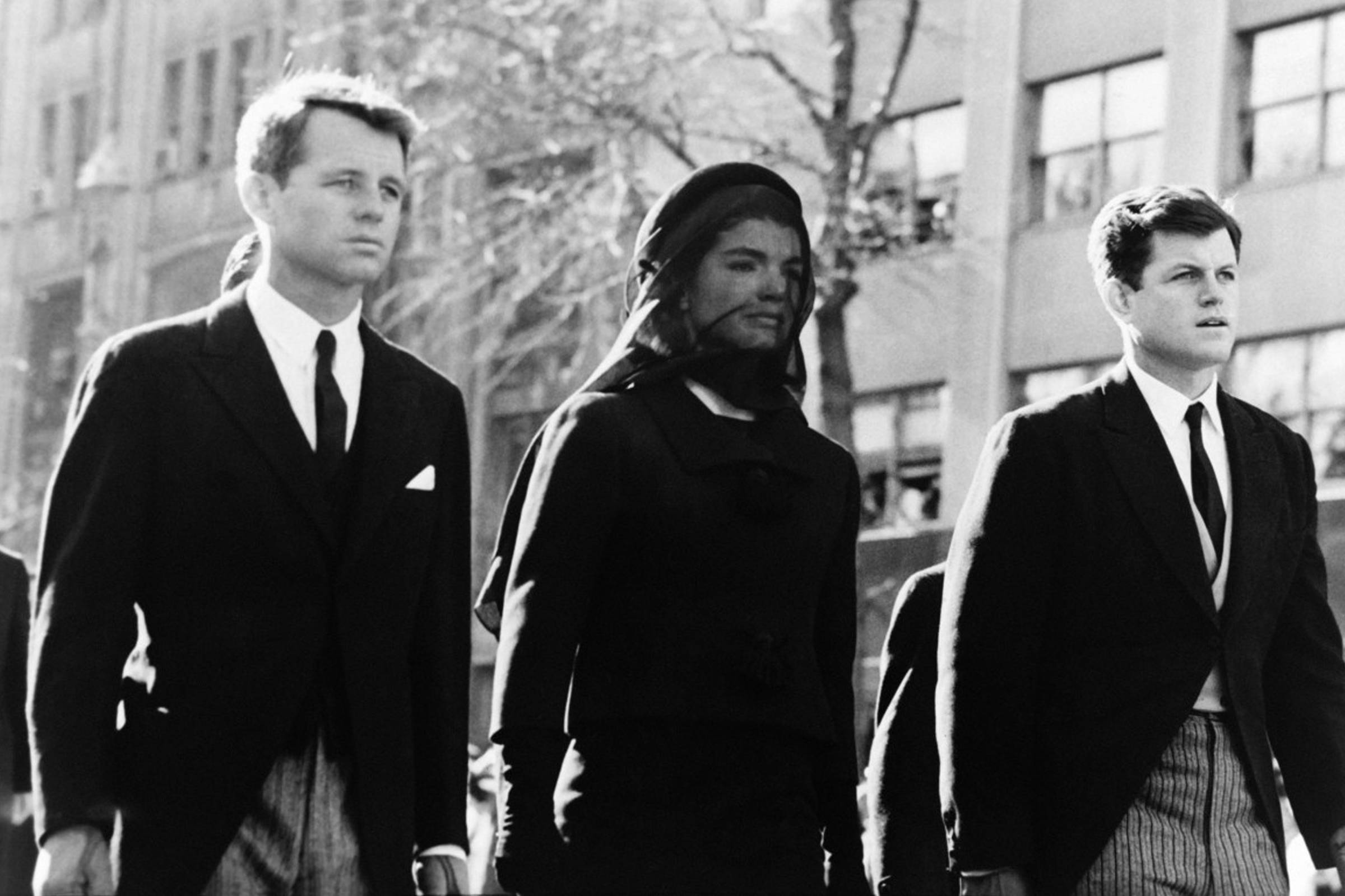 Bobby, Jackie and Ted Kennedy during President John F. Kennedy's funeral