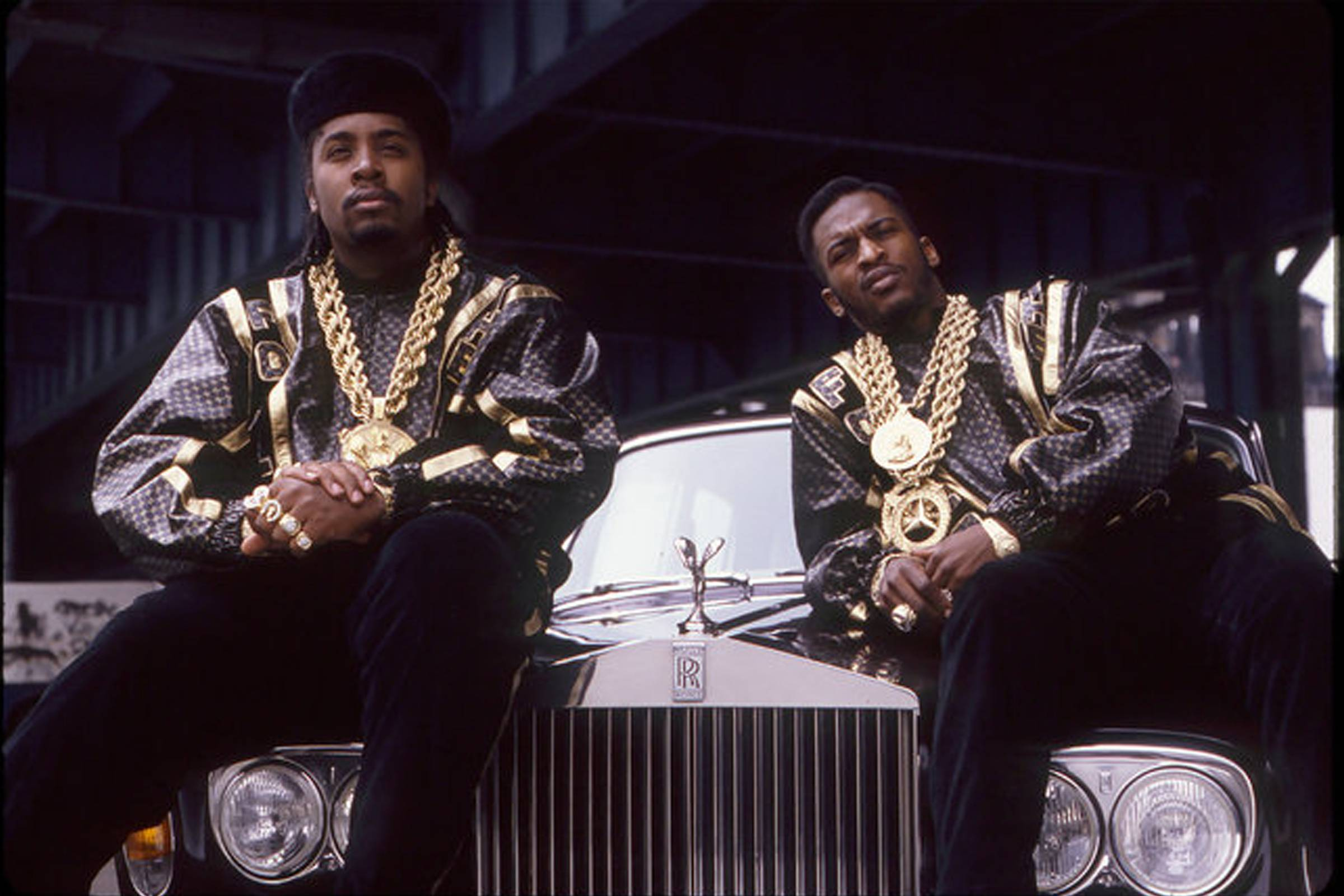 "Eric B. and Rakim wearing Dapper Dan customs at the photo shoot for 1988's ""Follow the Leader"""