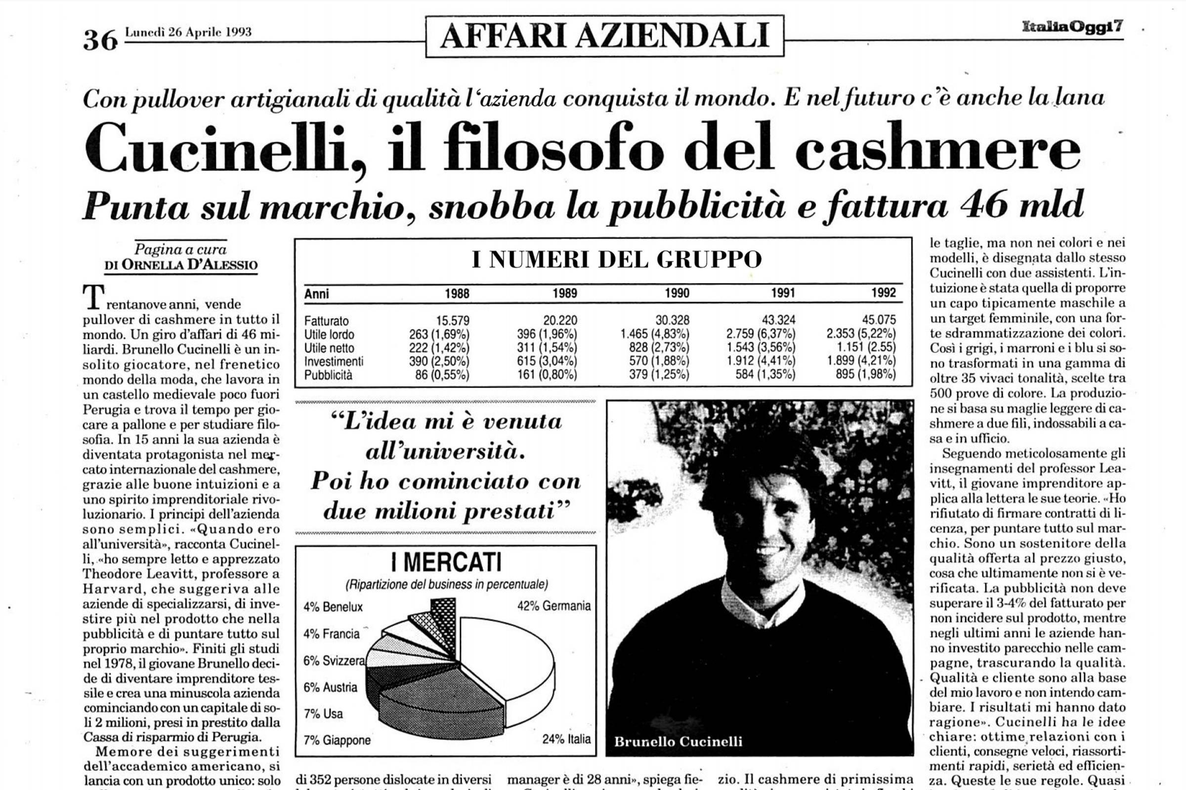 "An April 26, 1993 feature on Brunello Cucinell in ""Italia Oggi"""