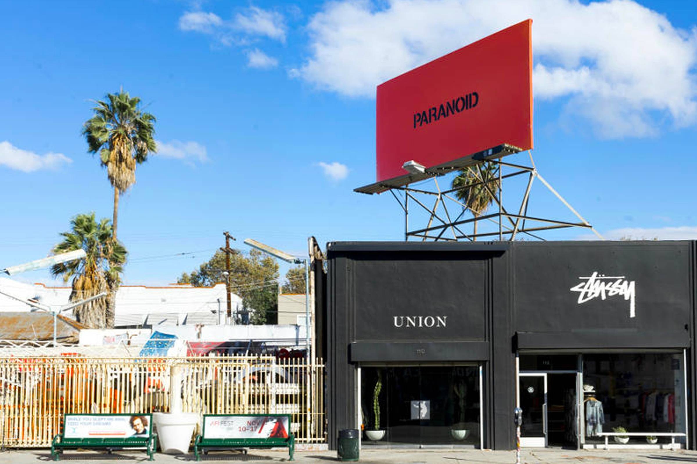 """Paranoid"" billboard above of Union LA and Stussy LA on La Brea Avenue"