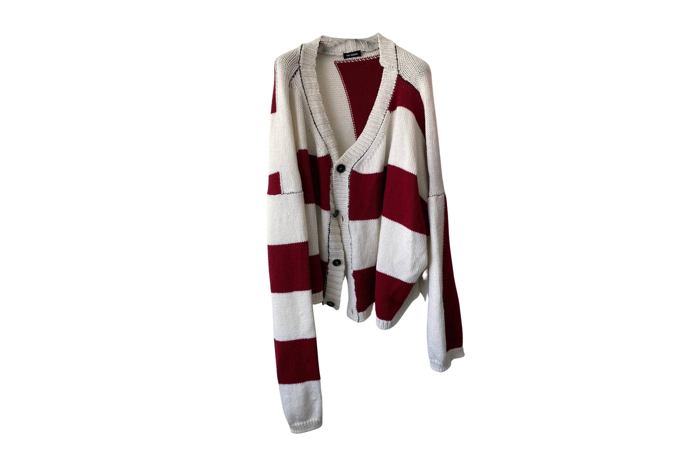 "Raf Simons Fall/Winter 2017 ""Disturbed"" Heavyweight Striped Cardigan"