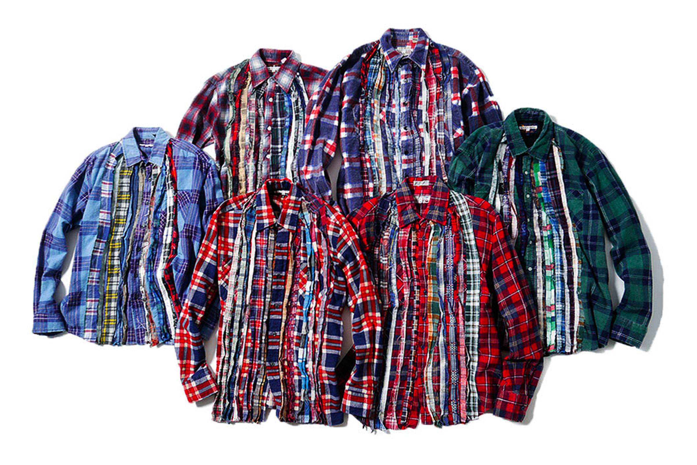 """A collection of various """"Ribbon Cut"""" Rebuild By Needles flannel shirts"""