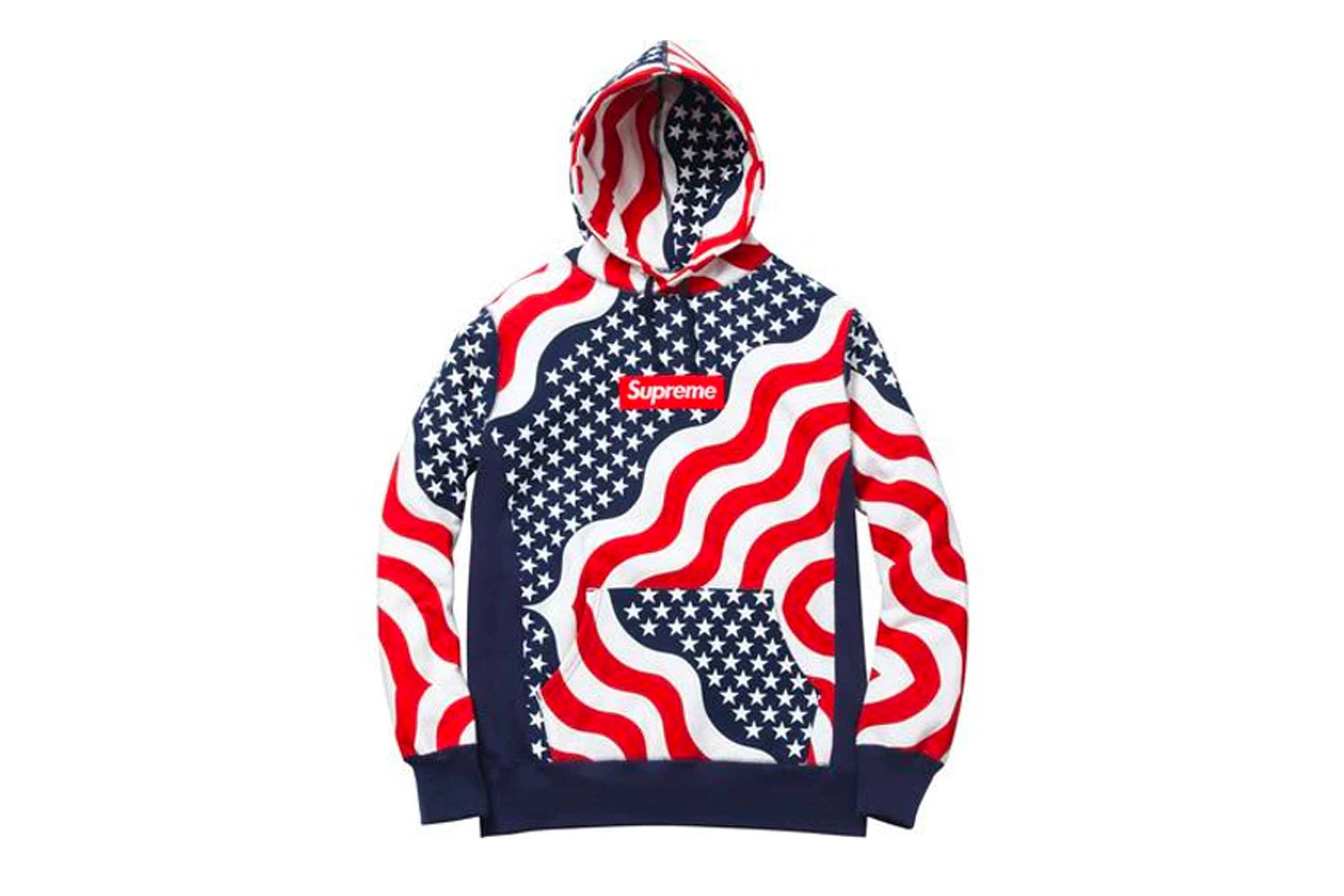 4. Supreme American Flag Print Box Logo Hoodie