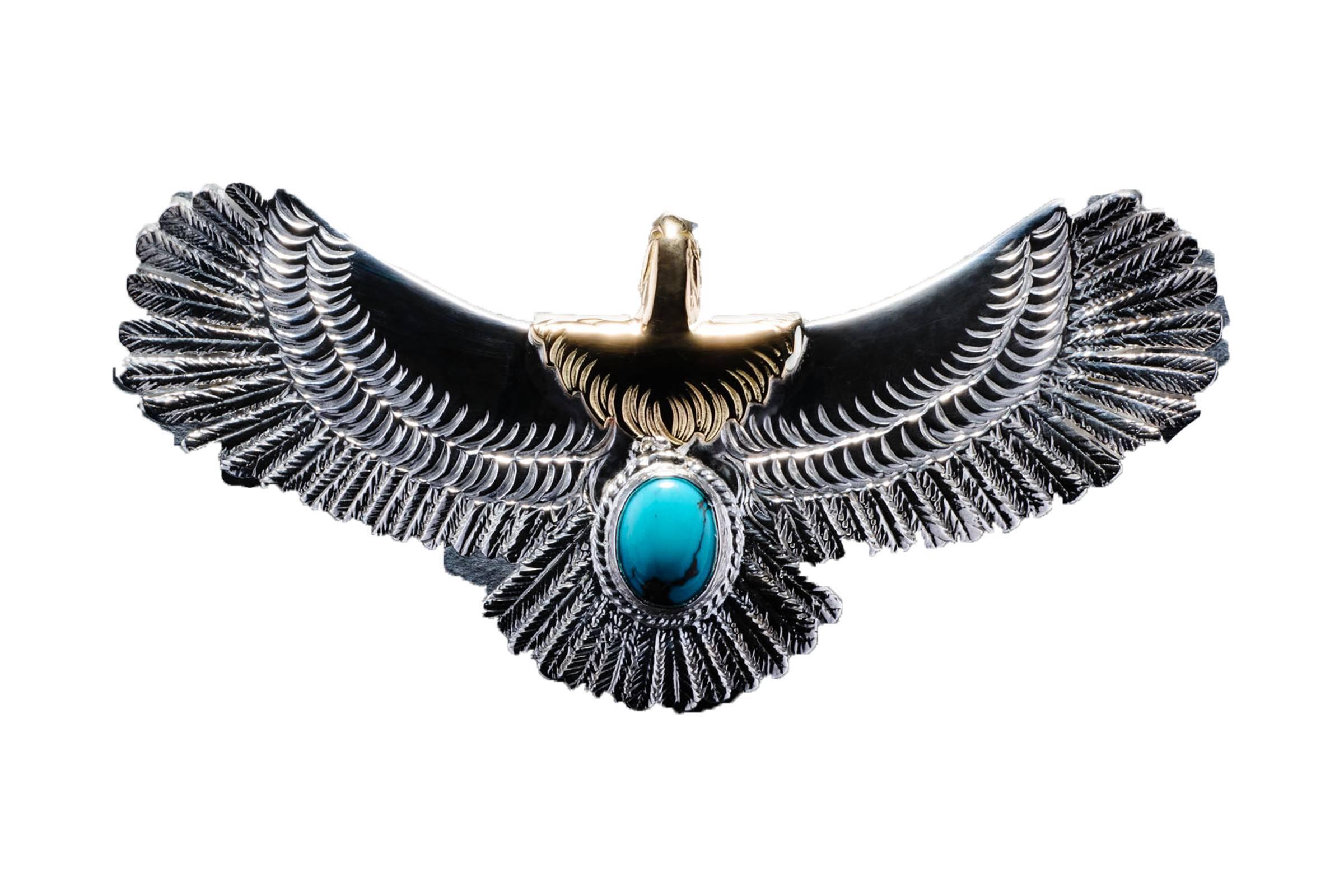 Goros Natural Turquoise Vintage Eagle Pendant & Chain