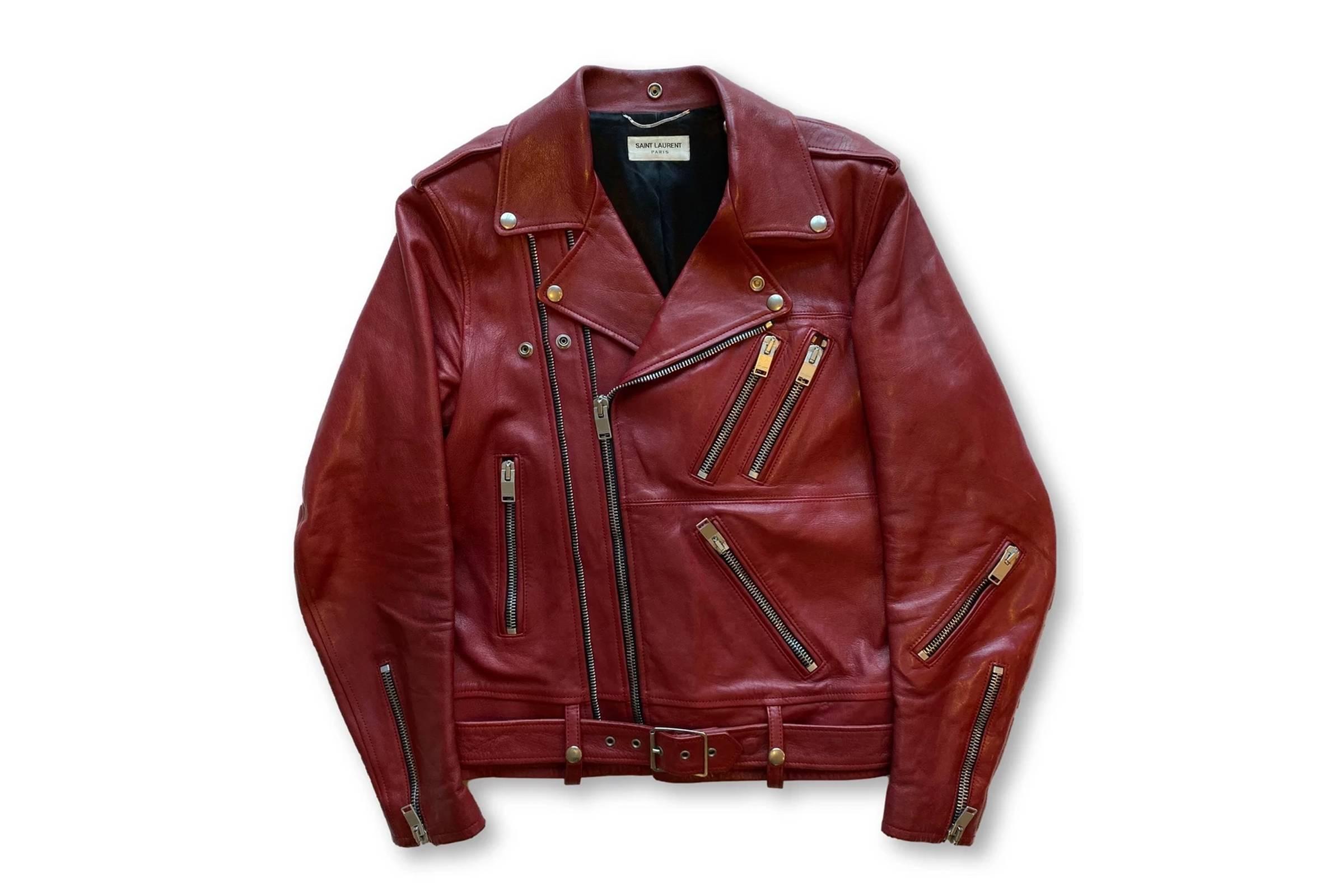 Saint Laurent Paris Red Leather Double Zip Biker Jacket