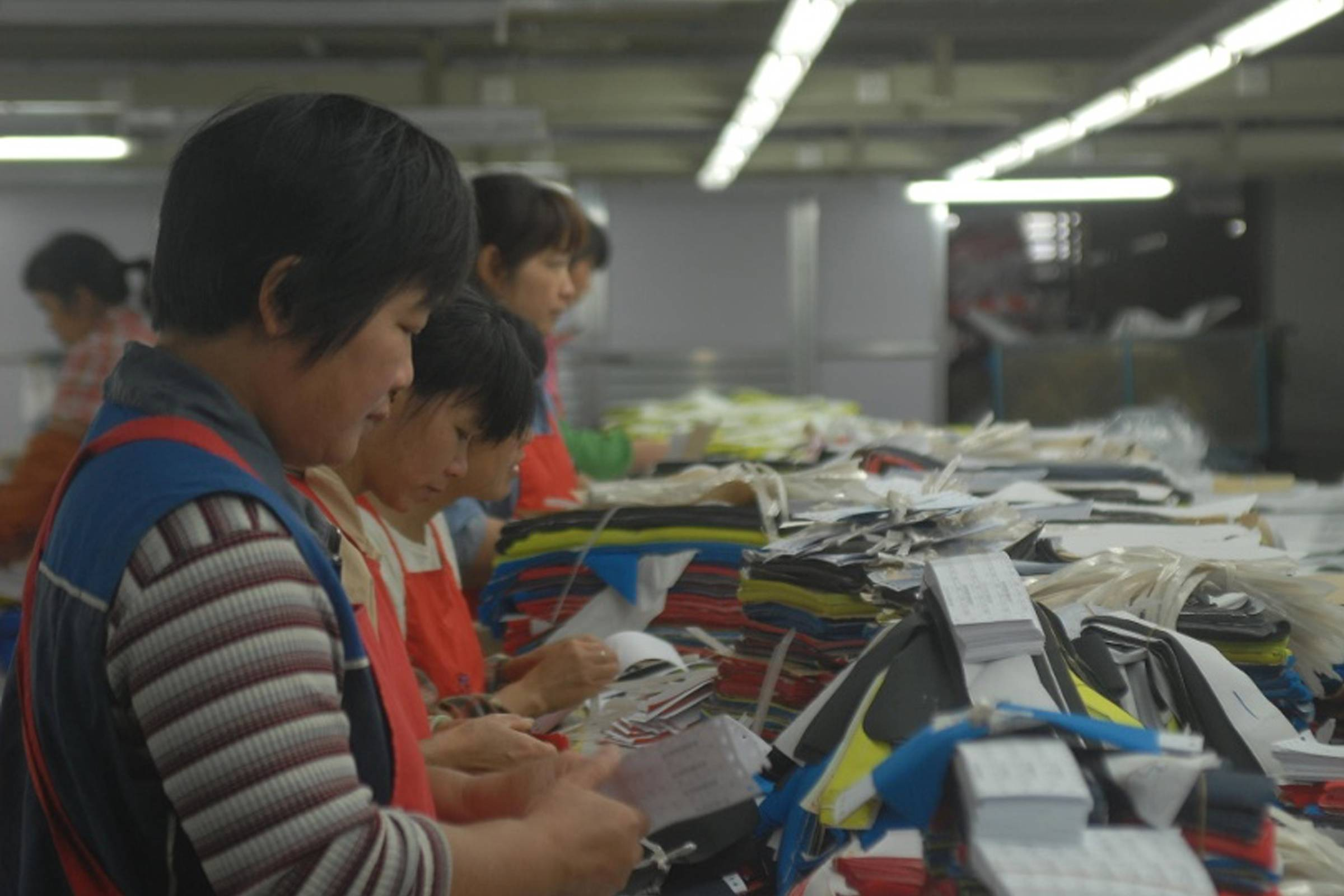 Workers at the KTC factory in China