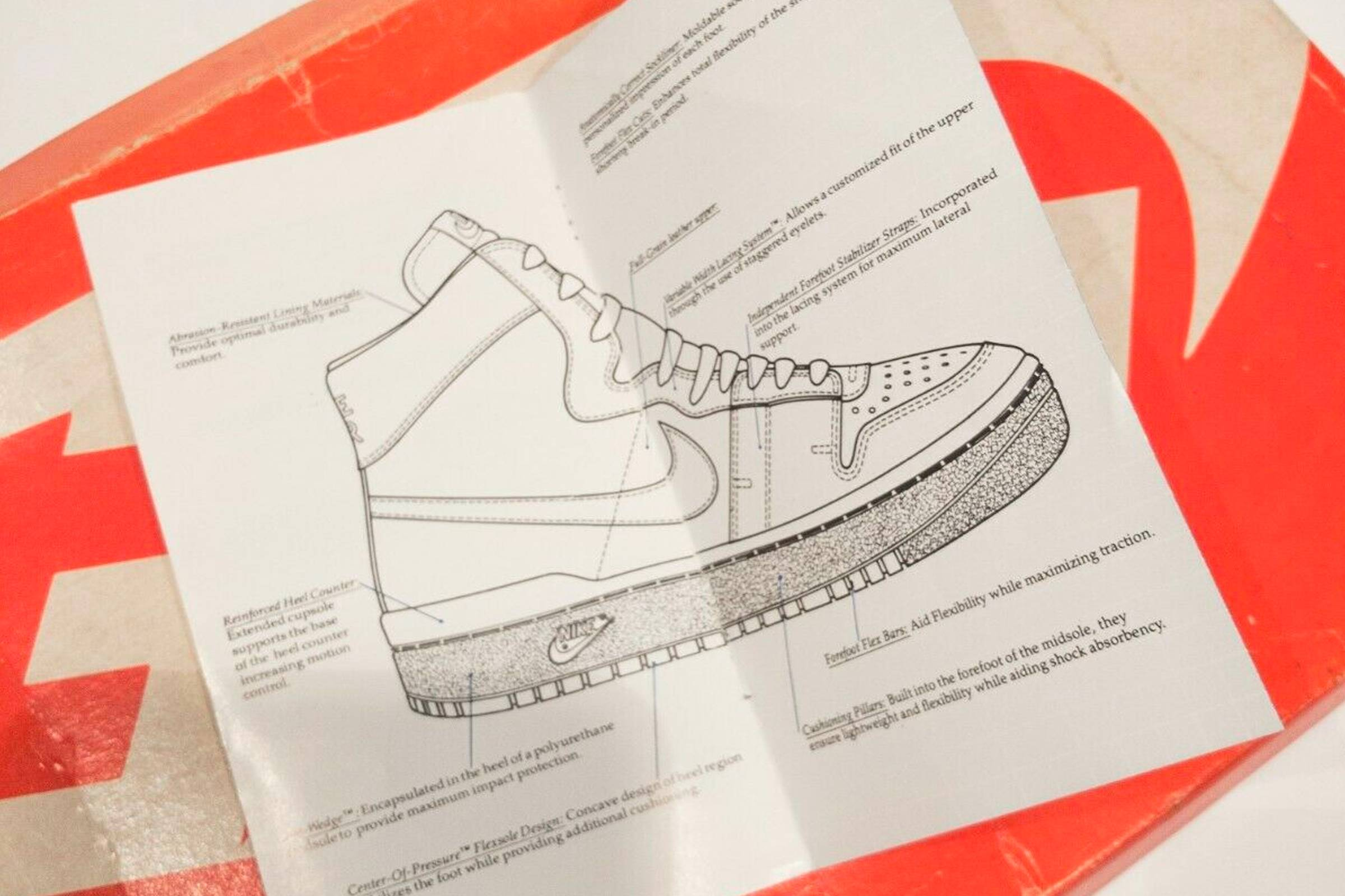 Diagram of the Nike Air Ship's product features, found in supplemental materials included with the sneaker.