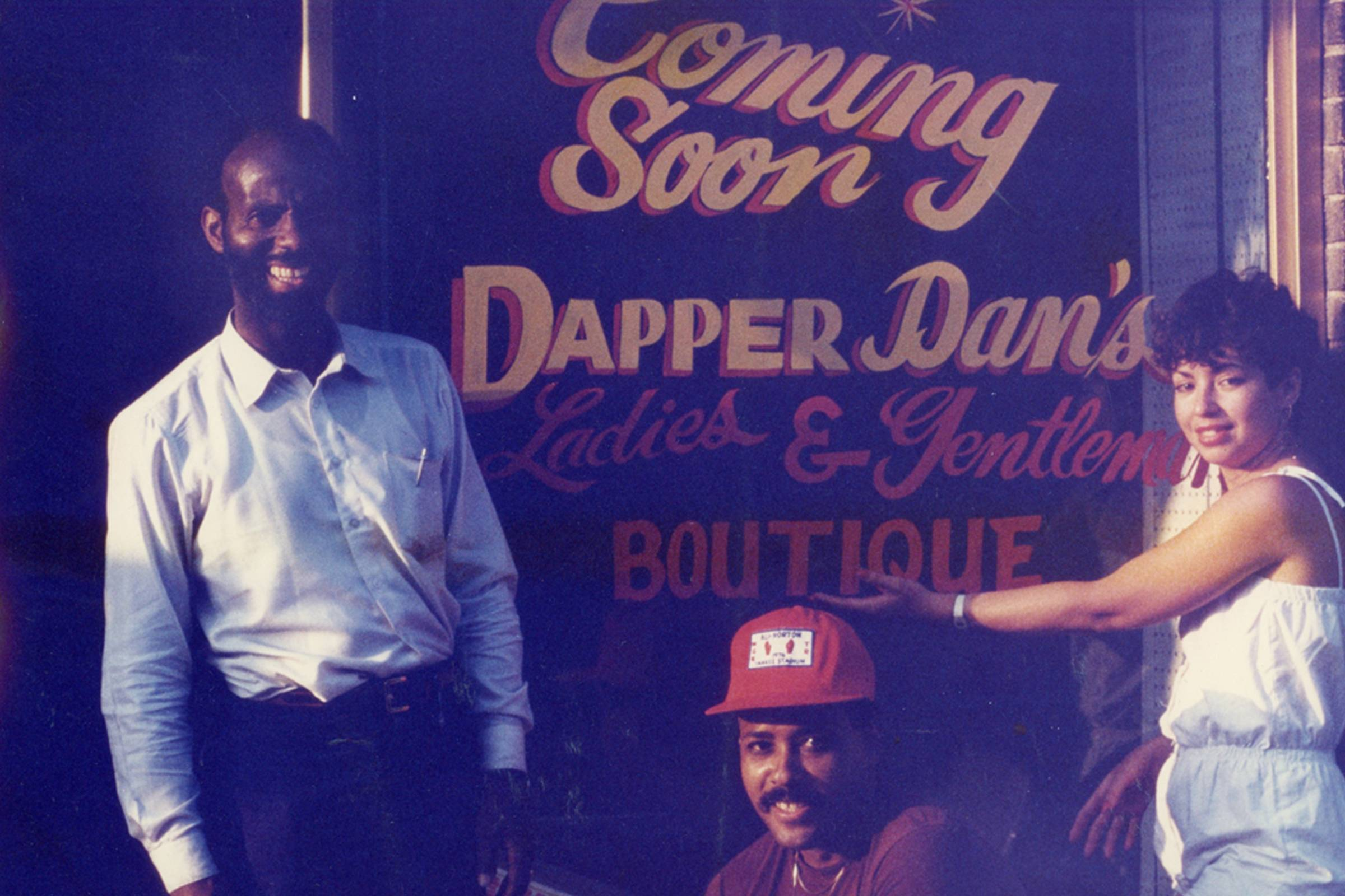 Dapper Dan outside of his Harlem boutique in 1983