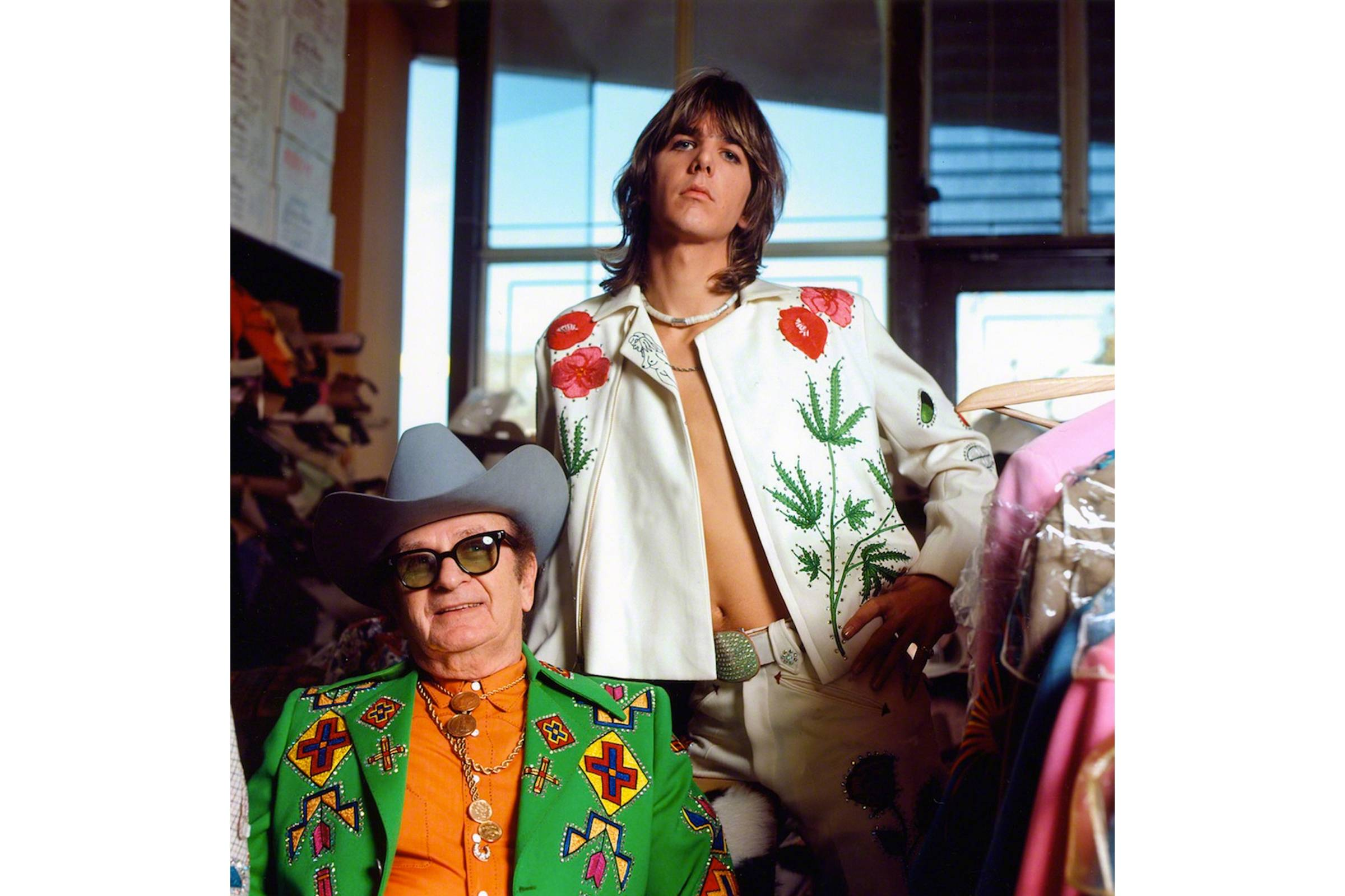 Nudie Cohn (left) and Gram Parsons at Nudie's Rodeo Tailors Shop in Los Angeles in 1968
