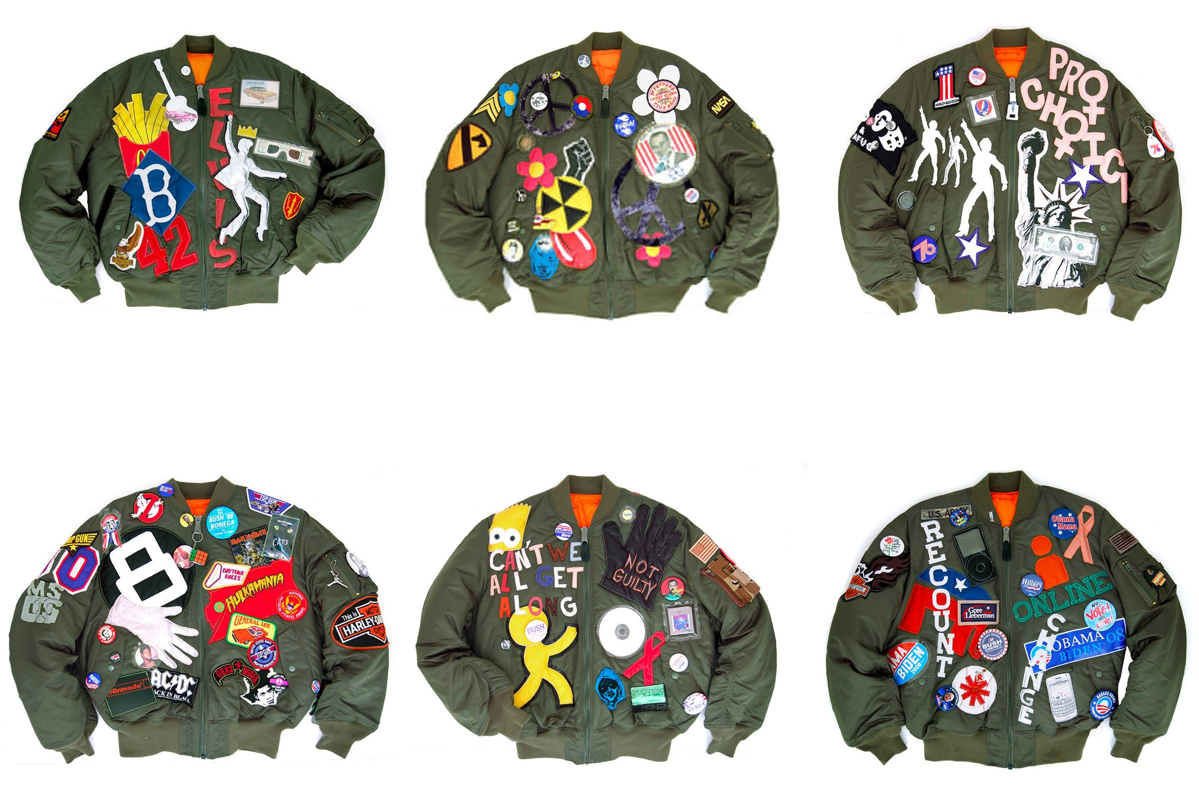 "Brian Wood's ""Alpha Industries: 6 Decades of History"" 50th anniversary jackets. Each jacket is customized to represent a particular decade: the 1950s (top left), the 1960s (top center), the 1970s (top right), the 1980s (bottom left), the 1990s (bottom center) and the 2000s."