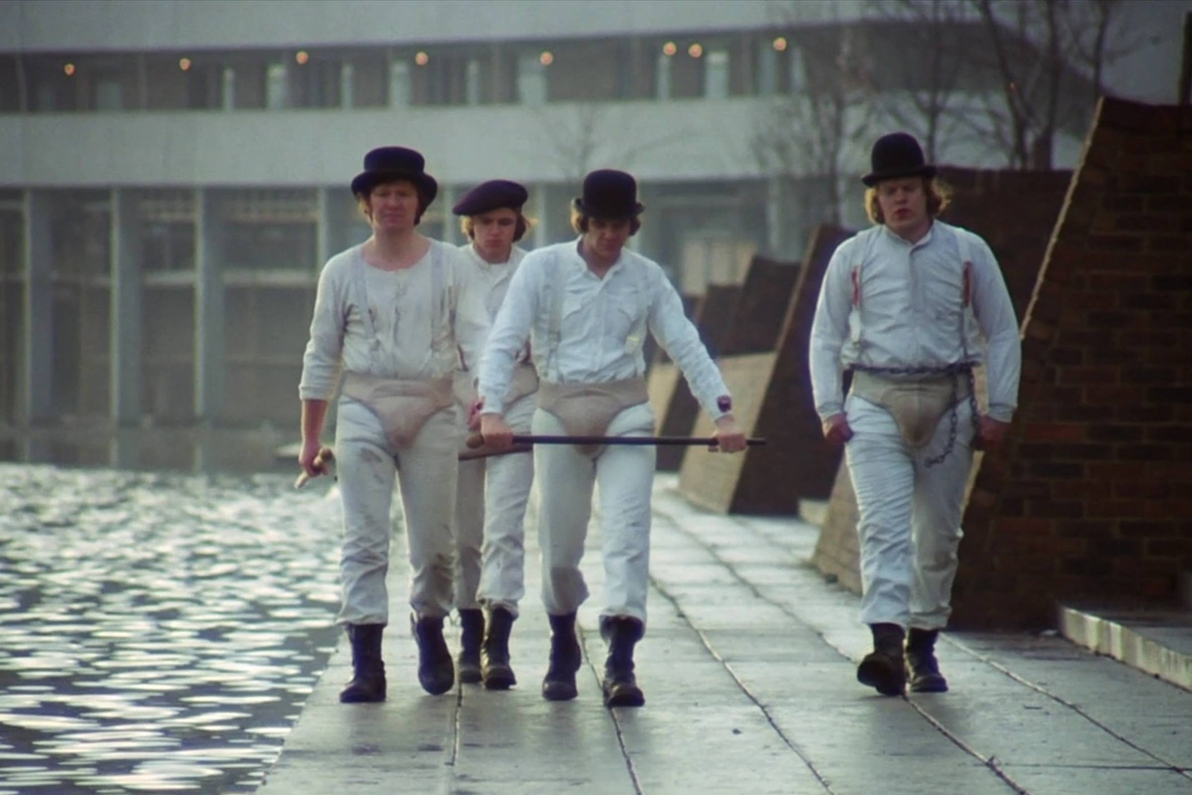 Alex DeLarge (center, played by Malcolm McDowell) with the Droogs