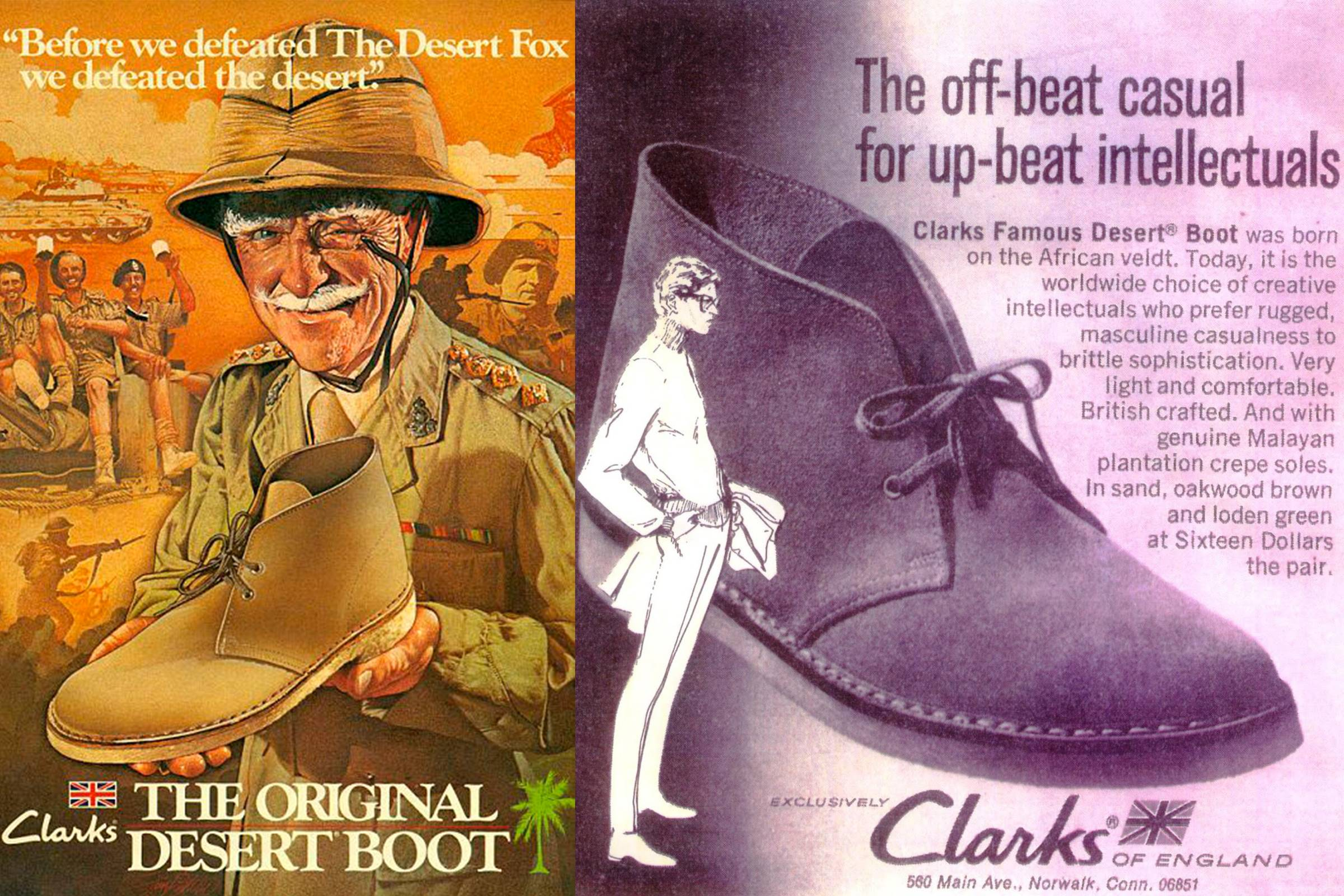 Original advertisements for Clarks' Desert Boot (c. 1950)
