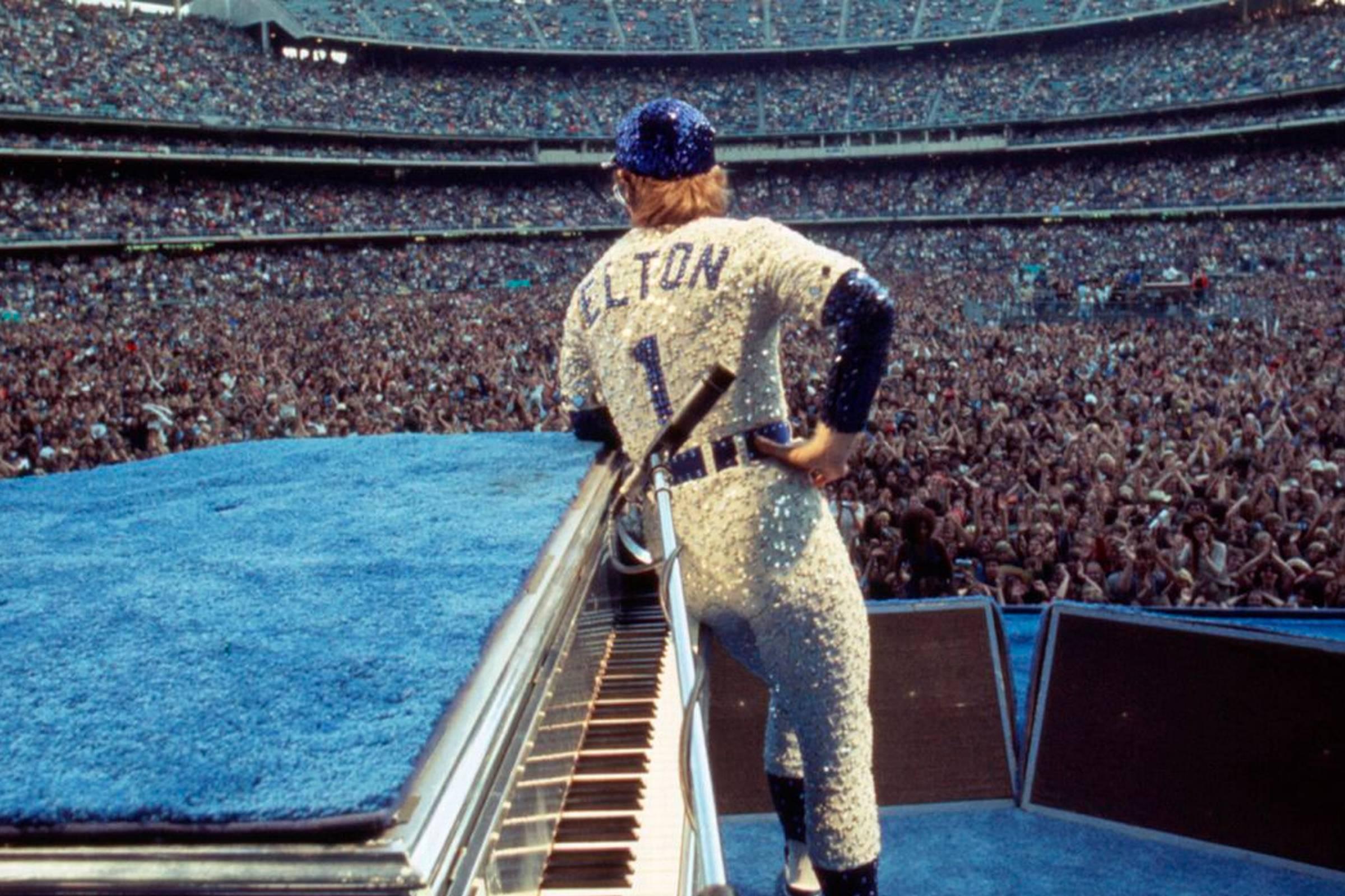 Elton John performing at Dodgers Stadium in LA, 1975