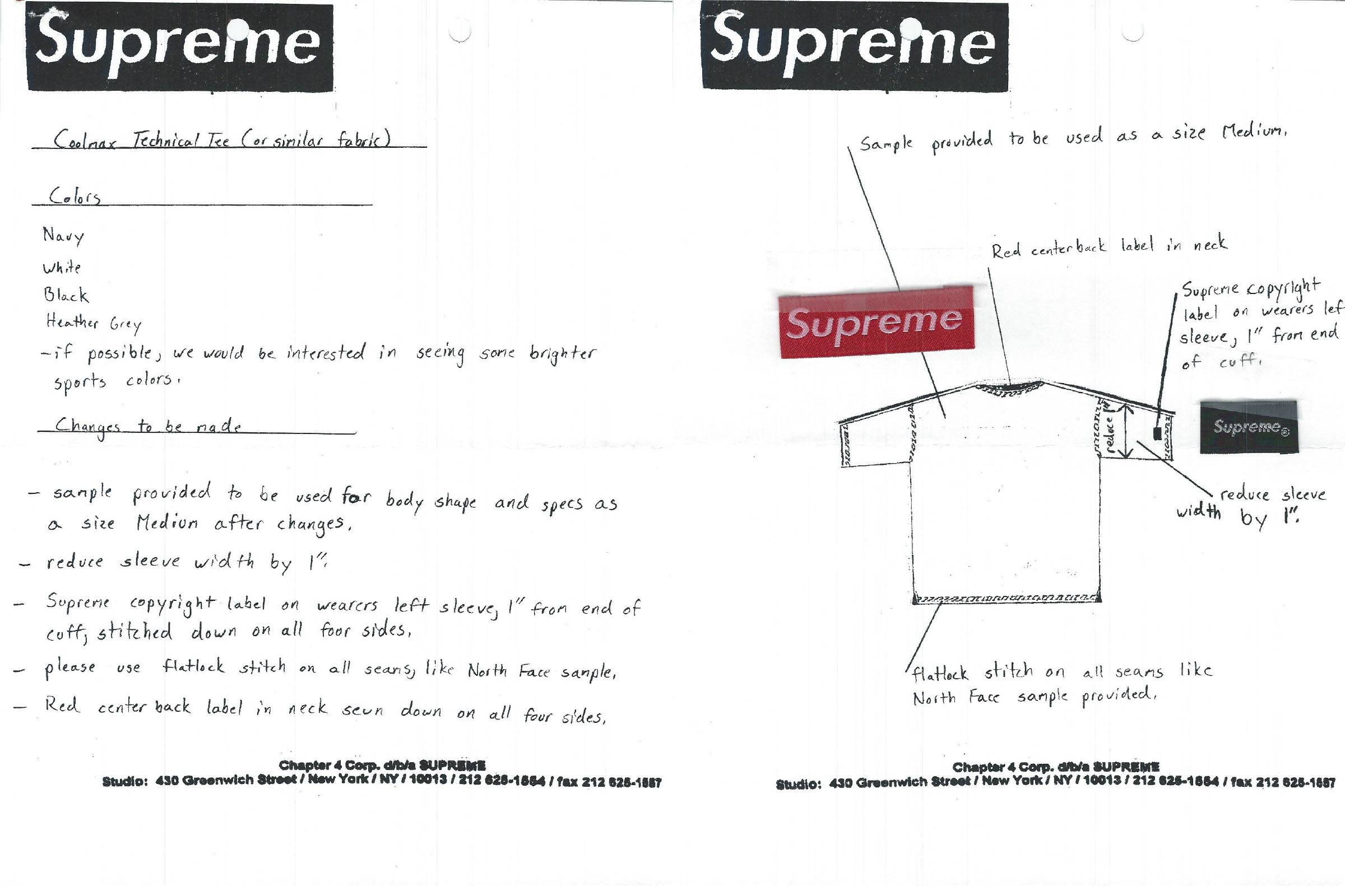 Production and sample notes for a Coolmax Technical T-Shirt