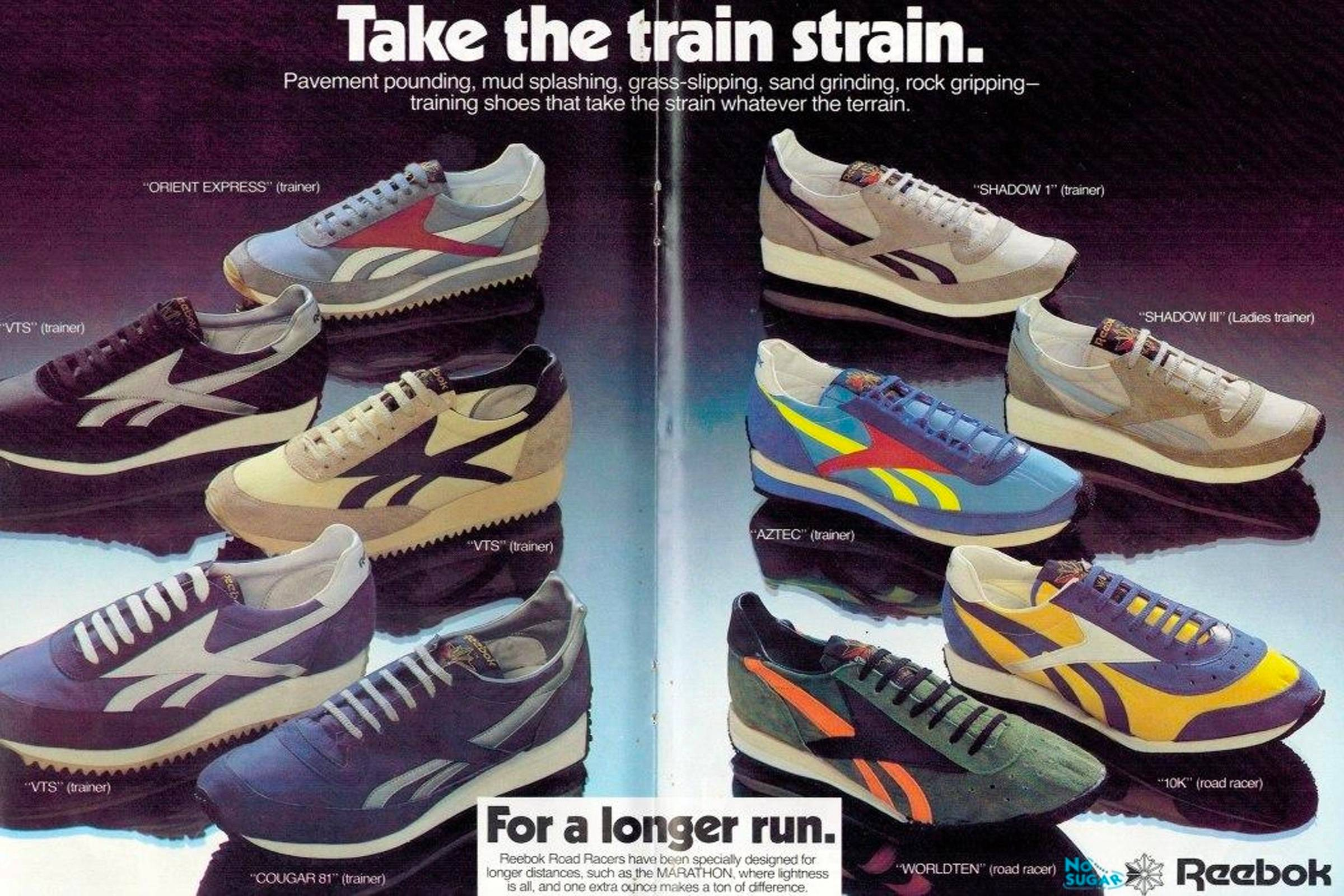 1980-1981 Reebok catalog ad displaying various training shoes