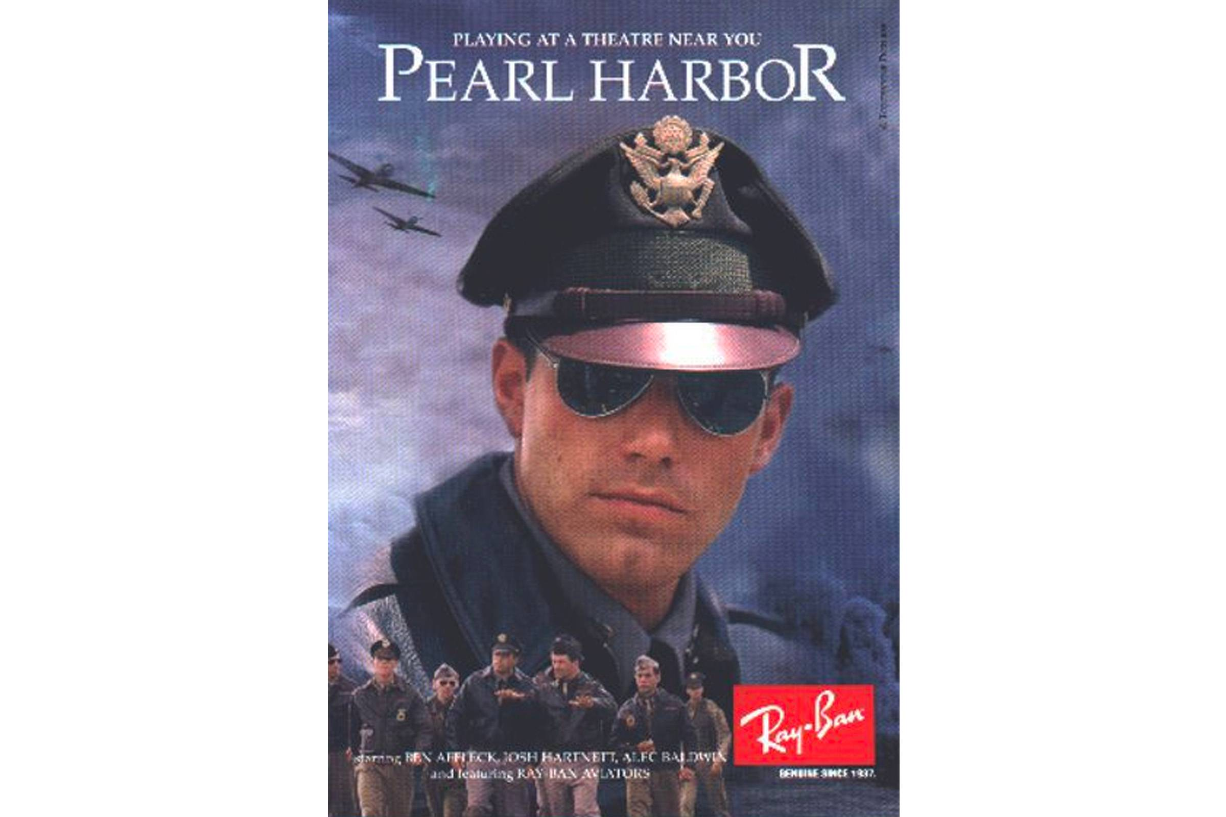 "A cross-promotional ""Pearl Harbor""-themed Ray-Ban ad featuring Ben Affleck"