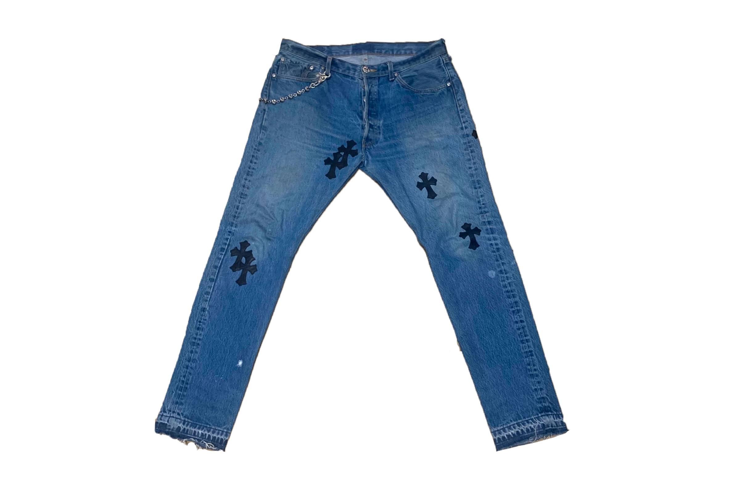 Chrome Hearts Leather Appliqué Jeans