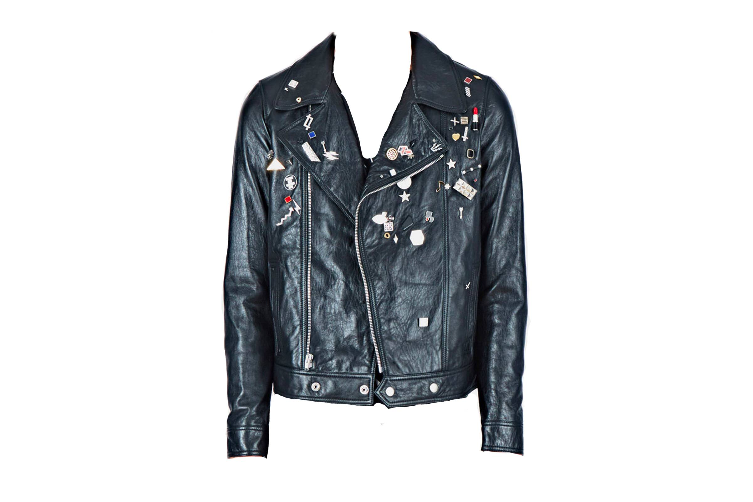 Saint Laurent Paris Leather Jacket with Pins
