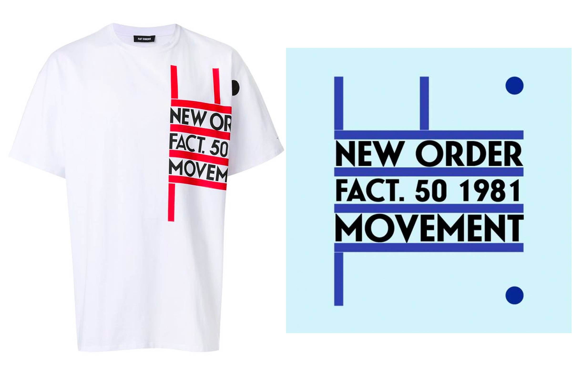 "A T-shirt from Raf Simons' Spring/Summer 2018 collection (left); ""Movement"" album cover (right)"