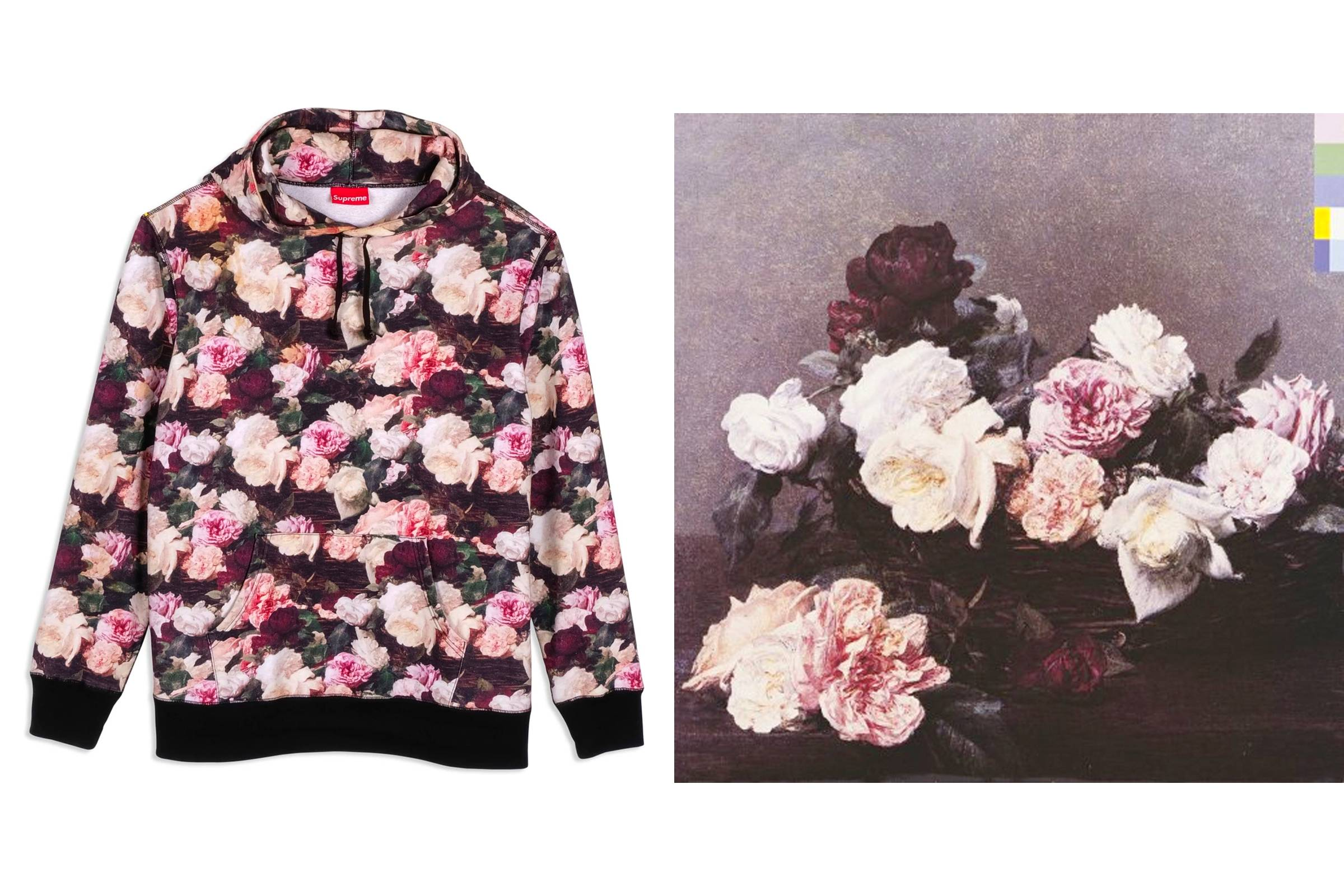 "Supreme's Spring/Summer 2013 ""Power, Corruption & Lies"" hoodie (left); ""Power, Corruption & Lies"" album cover (right)"