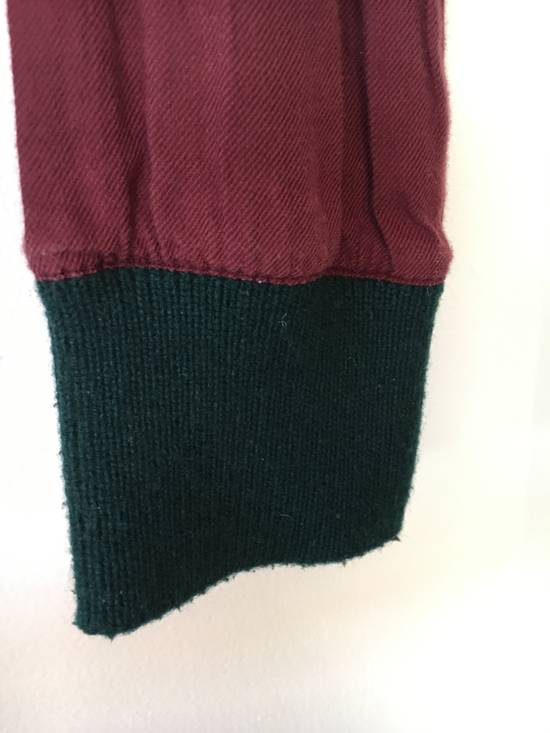 Thom Browne Red Shirt with Green Knit Cuff Size US S / EU 44-46 / 1 - 3