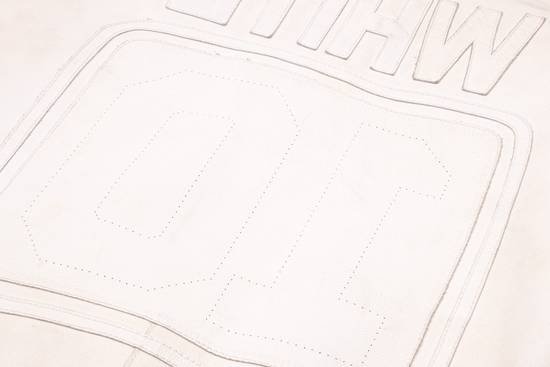 "Maison Margiela 2002 ""WHITE"" LEATHER JACKET WITH PLAIN APPLIQUE LOGOS Size US M / EU 48-50 / 2 - 7"