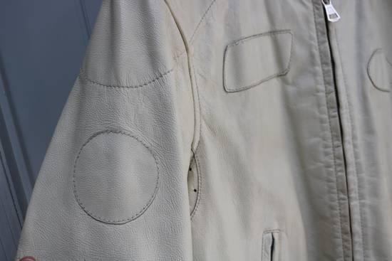 Maison Margiela SS 2002 WHITE LEATHER JACKET WITH PATCHES Size US L / EU 52-54 / 3 - 22