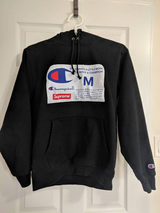 Supreme Supreme X Champion Label Hooded Sweatshirt Black - Medium Size US M / EU 48-50 / 2