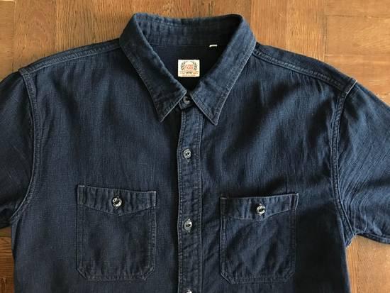 The Flat Head The Flat Head Indigo Dyed Selvedge Linen Shirt, Size 42 (Medium Self Edge) Size US M / EU 48-50 / 2 - 1
