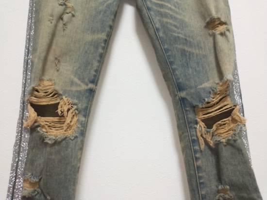Amiri Dirty Indigo Glitter Track Jeans Size US 31 - 2