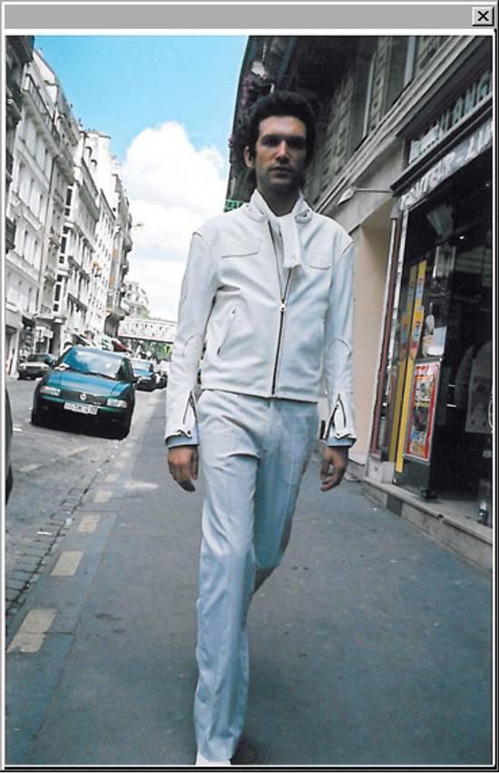 "Maison Margiela 2002 ""WHITE"" LEATHER JACKET WITH PLAIN APPLIQUE LOGOS Size US M / EU 48-50 / 2 - 14"
