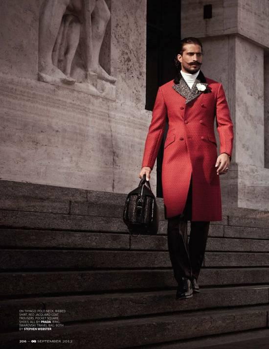 Prada red jacquard coat 2012 fall runway Size US M / EU 48-50 / 2 - 2