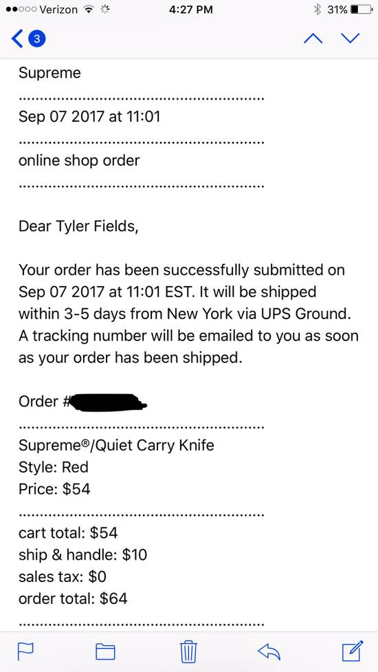 Supreme Quiet Carry Knife Size ONE SIZE - 3