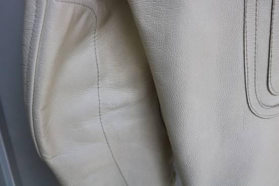 Maison Margiela SS 2002 WHITE LEATHER JACKET WITH PATCHES Size US L / EU 52-54 / 3 - 12