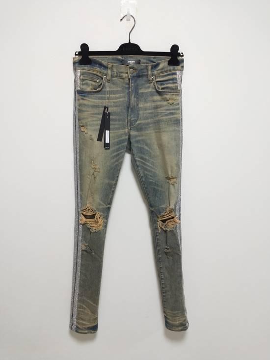 Amiri Dirty Indigo Glitter Track Jeans Size US 31