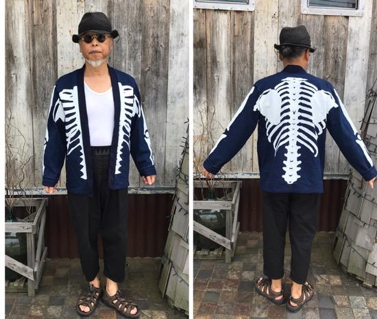Kapital KAPITAL IDG indigo kakashi cardigan kimono bone Japan 2 Size US M / EU 48-50 / 2 - 8
