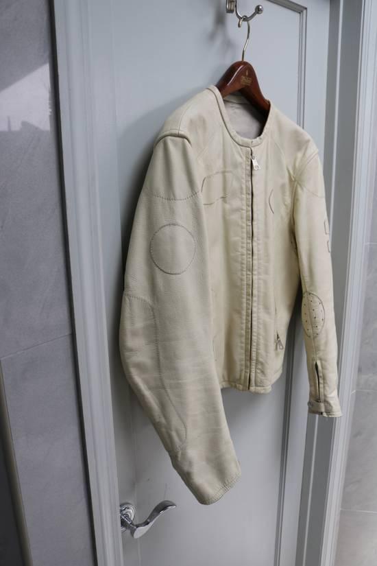 Maison Margiela SS 2002 WHITE LEATHER JACKET WITH PATCHES Size US L / EU 52-54 / 3 - 10