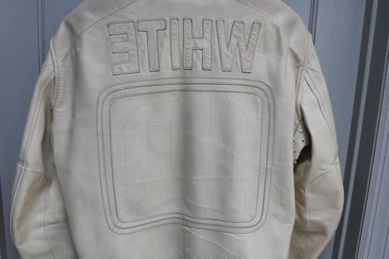 Maison Margiela SS 2002 WHITE LEATHER JACKET WITH PATCHES Size US L / EU 52-54 / 3 - 4