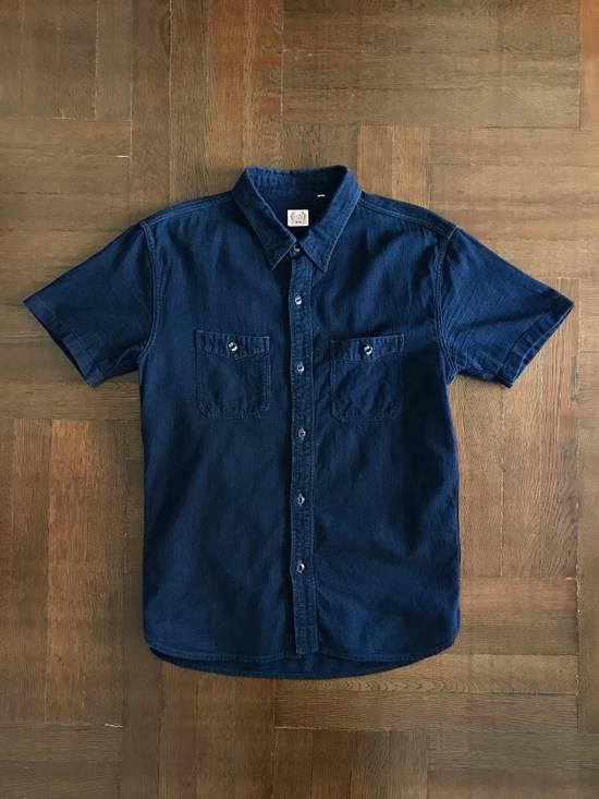 The Flat Head The Flat Head Indigo Dyed Selvedge Linen Shirt, Size 42 (Medium Self Edge) Size US M / EU 48-50 / 2