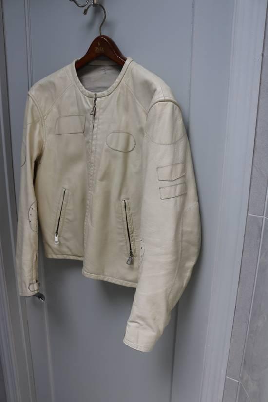 Maison Margiela SS 2002 WHITE LEATHER JACKET WITH PATCHES Size US L / EU 52-54 / 3 - 3