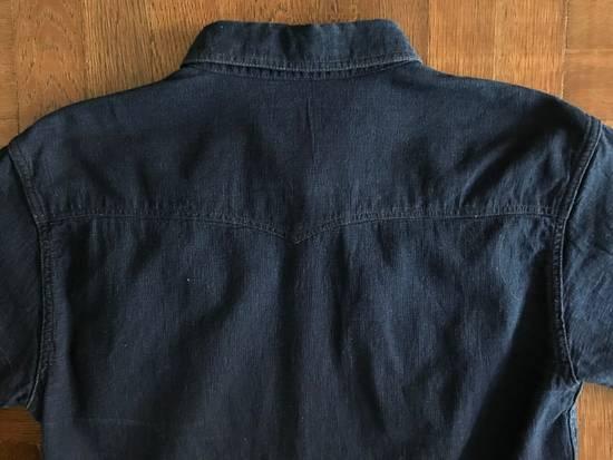The Flat Head The Flat Head Indigo Dyed Selvedge Linen Shirt, Size 42 (Medium Self Edge) Size US M / EU 48-50 / 2 - 5